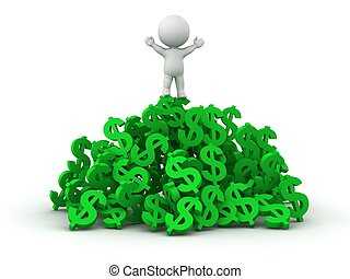 3D Man standing on pile of dollar s - A 3D man standing on...