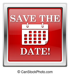 Save the date icon - Metallic icon with white design on red...