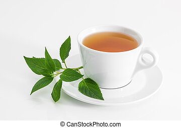 Cup of tea with fresh mint leaves, on white background.