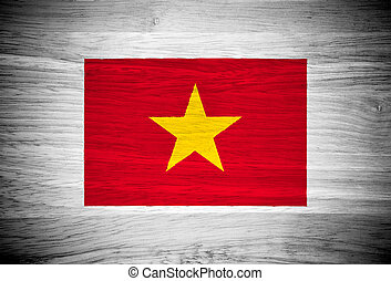 Vietnam flag on wood texture