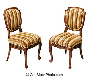 Antique wooden chairs isolated on white background