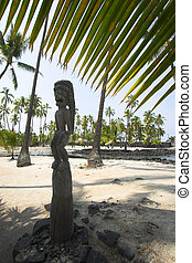Wooden idols - Wooden statues of idols in Big Island