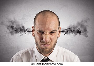 Stress - Concept of stress at work with businessman with...