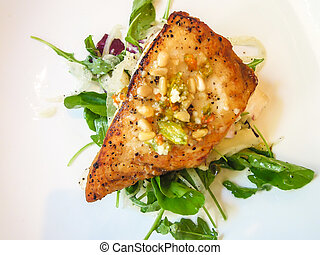Fresh pan seared halibut - Closeup of fresh pan seared...