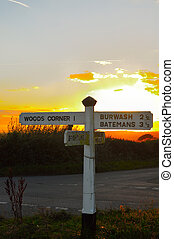 Fingerpost at the crossroads near Brightling, East Sussex,...