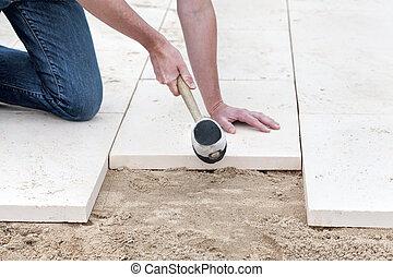 Instalación, nuevo, pavimento