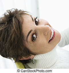 Pretty woman smiling - Head and shoulder portrait of pretty...
