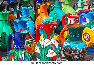 hand crafted mexican water jugs - ornate hand crafted, hand...