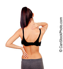 Woman in sport clothes with back pain isolated on white...