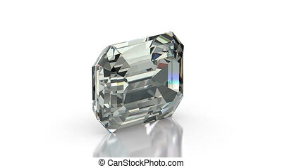 Emerald Cut Diamond - Emerald cut diamond on white seamless...