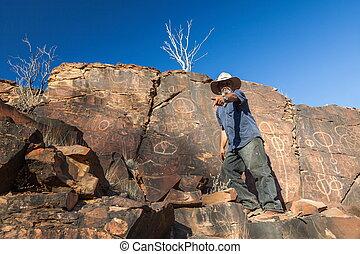 Chambers Gorge aboriginal engraving site. Flinders Ranges....