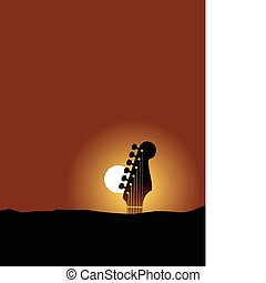 Guitar Sun Landscape music background with space for text