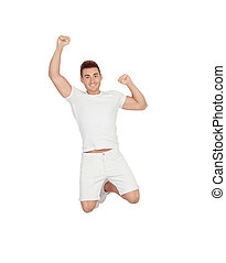 Happy young men jumping isolated on a white background