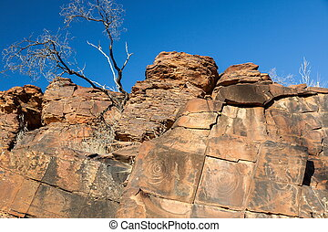 Chambers Gorge aboriginal engraving site Flinders Ranges...