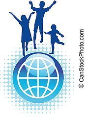 kids jumping on top of the world - Vector background of kids...