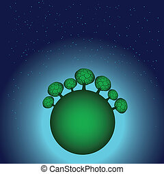 Globe with trees and stars