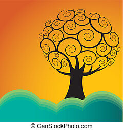 Landscape with tree - Vector Landscape with tree and...