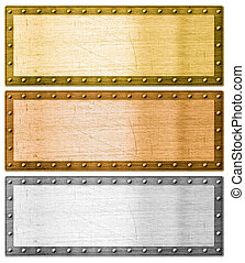 metal frames silver, gold and bronze with clipping path