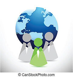 globe and people in front illustration design