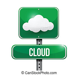 cloud road sign illustration over a white background