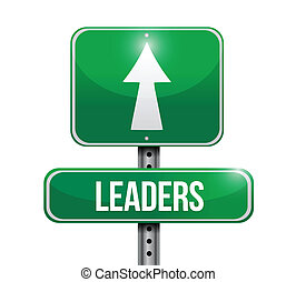 leaders road sign illustration over a white background