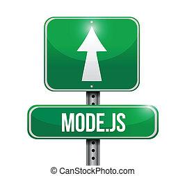 model js road sign illustration over a white background