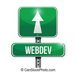 webdev road sign illustration over a white background