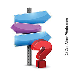 three way question mark road sign illustration design over...