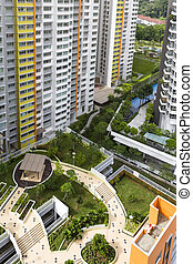 Housing Estate - High angle view of a colorful neighborhood...