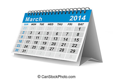 2014 year calendar March Isolated 3D image