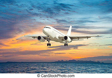 airplane - White single airplane with nature background