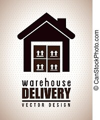 Warehouse Delivery - Warehouse delivery icon over black...