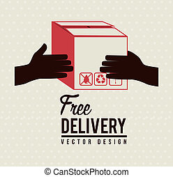 Delivery icons with box over lines background vector...