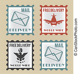 Free shipping - Free delivery postage stamp over beige...