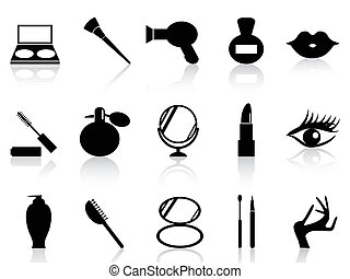 cosmetics and makeup icons set - isolated black cosmetics...