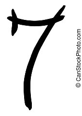 black Arabic numeral 7 written by hand - Arabic numeral 7...
