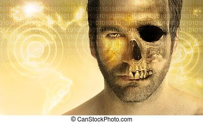 Man skull Man skull - Conceptual image of a man transforming...