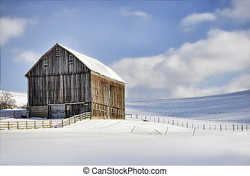 Winter Barn - view of a solitary barn in snow against blue...