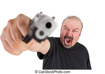 Man with The Gun Screams with his Angry Eyes - Big man with...