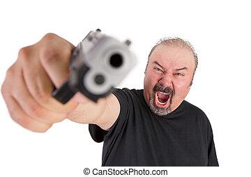 homem, a, arma, gritos, seu, zangado, olhos