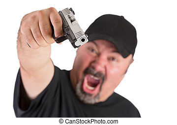 Man With The Gun Screams - Big man with goatee points his...