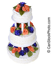 Isolated Three Tier Ruffled Cake