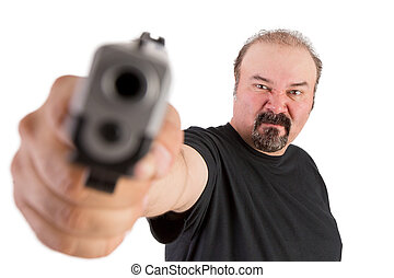 Gun Pointed at You - Big man with goatee points his gun to...