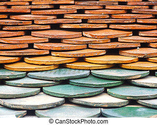 Old red brick roof tiles