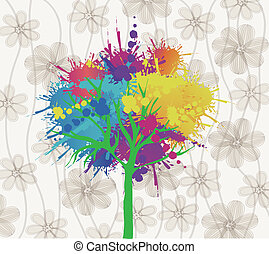 paint design over floral background vector illustration