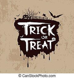 Halloween, tour, ou, traiter, message