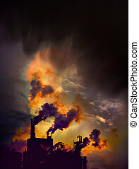 Smoking factory - Factory with chimneys emitting smoke on...
