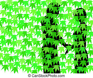 Behind the hedge - Editable vector illustration of a couple...