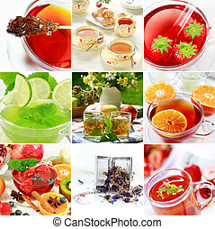 Tea collage - Collage of natural herbal tea with fruits