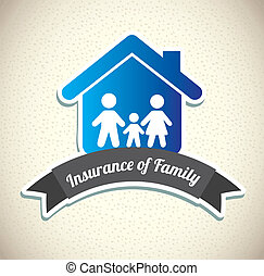 family insurance over pattern background vector illustration